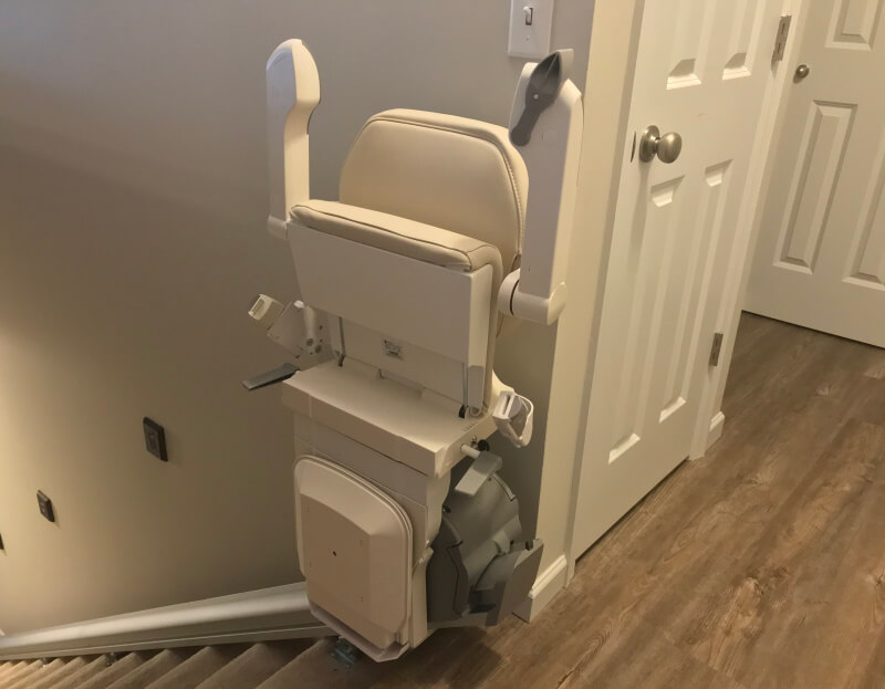 Brian Randolph and the Amramp St. Louis team installed this stairlift for a client in Wentzville, MO so she could access her basement quilting area.