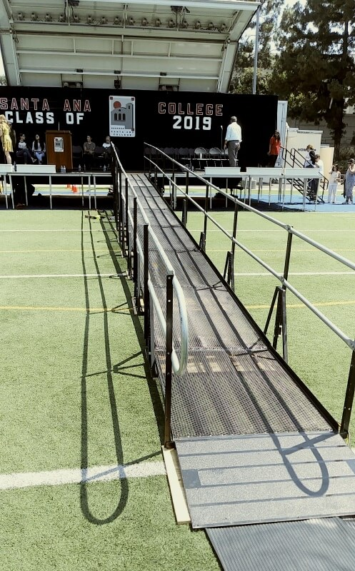 The Amramp Los Angeles team installed this ramp for Santa Ana Community College's graduation.