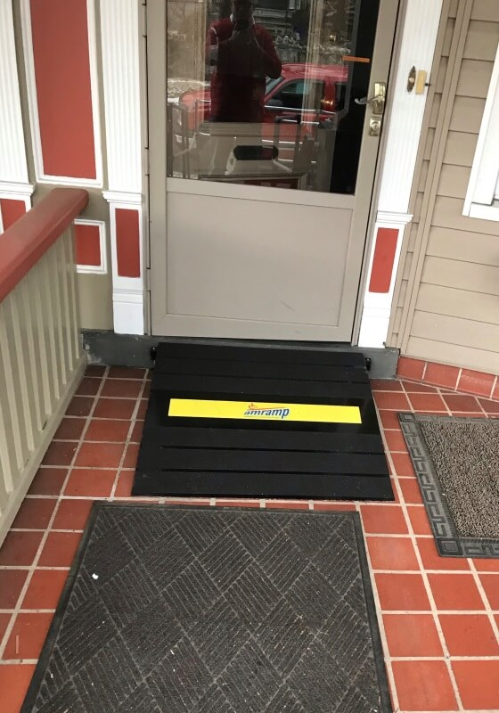 Dave Hoglund and the Amramp NE PA team installed this wheelchair ramp with a small doorway ramp in Scranton, PA.