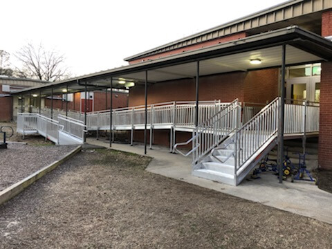 Amramp installed a large ramp at Skipwith Elementary school in Richmond, VA, to allow students and staff access from the school classrooms to outdoor play areas.