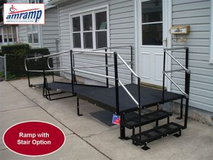 Front entrance steel ramp with stairs