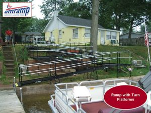 Steel ramp providing access to boat dock