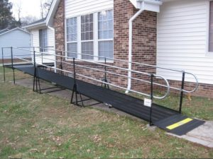 Amramp steel ramps are sturdy even on grass