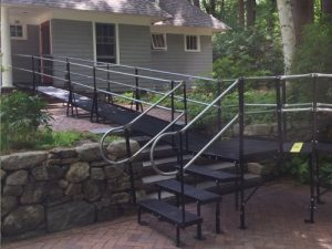 Residential steel ramp with stairs