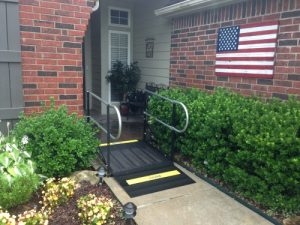 Residential ramp with railings
