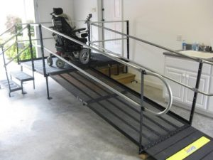 Steel ramp in a garage