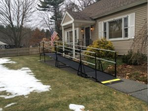 Amramp Steel Ramp providing access to the front entrance of a residential home