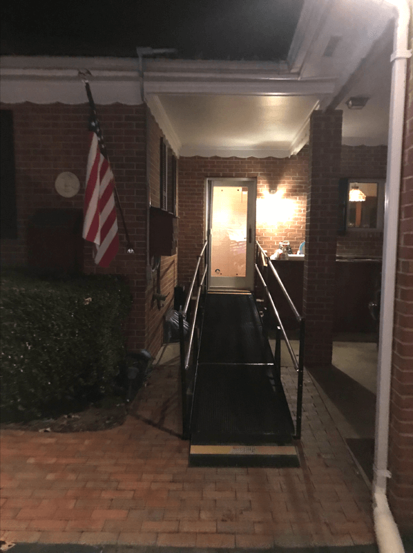 This St. Mary's County family needed a wheelchair ramp rental right away. Amramp installed this in less than 24 hours and the team drank lots of coffee to make sure it was done the next day for an important doctor's appointment!