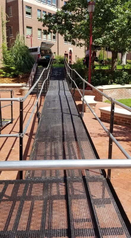 Amramp Denver installed this 85 foot long wheelchair ramp at the University of Denver- Craig Hall.