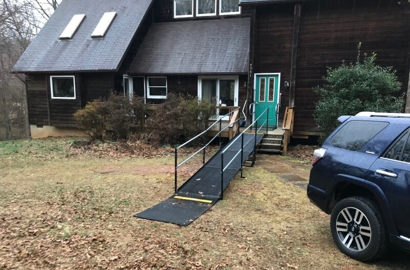 This ramp was installed very quickly (within 2 days) so the client could go to a doctor's appointment.
