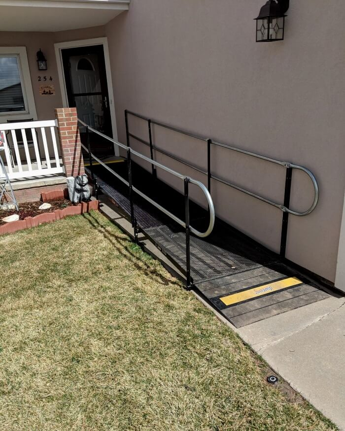 This wheelchair ramp in Yuma, CO was installed by Katie, Damon, and the Amramp Denver team.