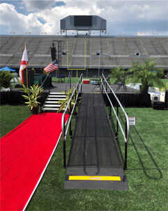 Amramp of Birmingham, AL installed this rental ramp for a graduation ceremony for the Birmingham city schools. Amramp was contacted after the original company that the school had scheduled to provide a ramp for the ceremony could not make the event.