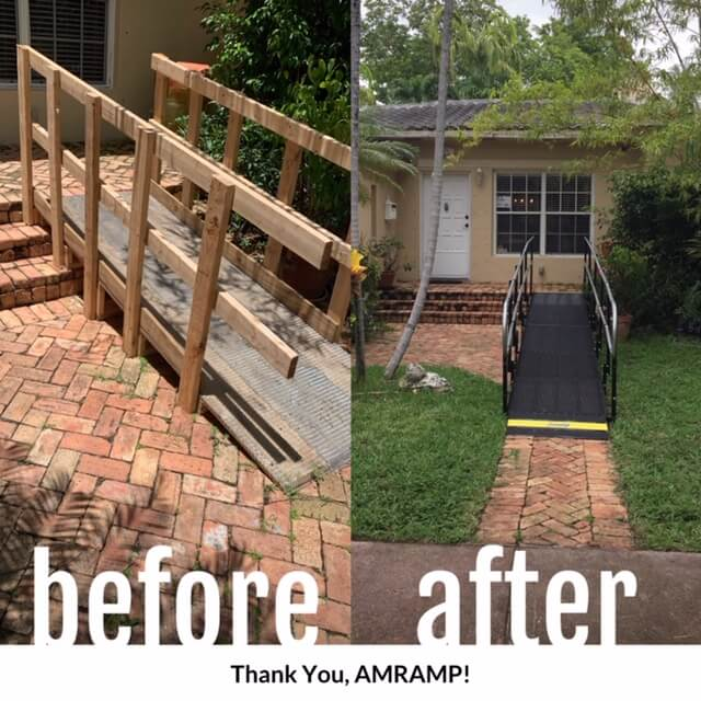 Debbie Vanlandingham and the Amramp Tampa team replaced this unsafe wheelchair ramp within 24 hours of receiving the call!