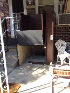 The Amramp Philadelphia team installed new metal steps and a vertical platform lift for this Philadelphia, PA home.