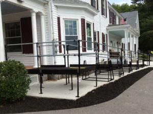 Amramp Boston installed this ADA compliant wheelchair ramp for a Lunenburg, MA funeral home to provide access for all visitors