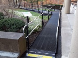 Greg Lazzaroni and the Amramp Northern Virginia team installed this modular walkway to provide safe access from this Reston, VA office building to the outside smokers' hut.