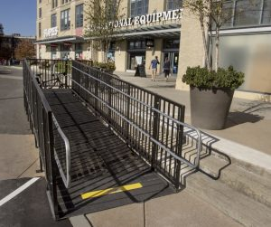 This code compliant wheelchair ramp installed by the Amramp Boston team provides access to the Landmark Center in Boston, MA.