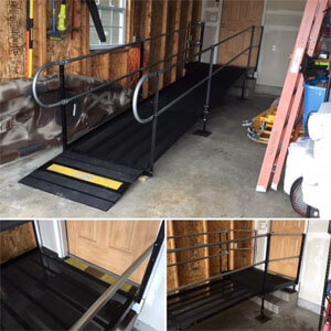 Amramp Southeastern Wisconsin installed this wheelchair ramp on a Friday morning so the client's father could come home to recover from injuries due to a fall. This rental ramp inside of the garage will be removed when it is no longer needed. Over the next few weeks or months it will provide a safe way for her father to come and go as he needs. Whether you need a permanent wheelchair ramp or just a temporary ramp, Amramp Southeastern Wisconsin is here to make your life accessible.