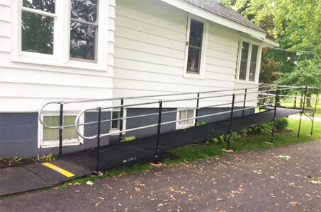 Amramp Southeastern Wisconsin was in Wild Rose, WI one morning installing this 43 foot wheelchair ramp while the client was in the hospital having surgery. The ramp is in place and ready for her to come home and recuperate comfortably. She will be able to get to appointments and therapies while recovering at home rather than alone in the hospital. Making life accessible in Southeastern Wisconsin.