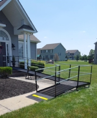 Amramp provides accessibility to the front entrance of this New Castle, DE home.