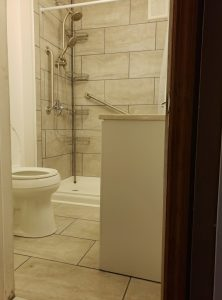 Nick Marcellino and the Amramp Greater Philadelphia team completed this bathroom modification project in Bristol, PA. The renovation included new walls, ceiling, flooring, toilet, vanity/sink, and walk-in shower.