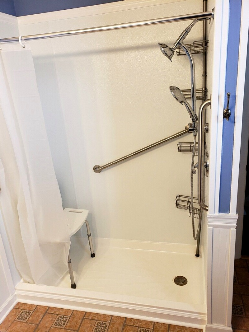 Nick Marcellino and the Amramp Philadelphia team completed this bathroom modification project for a PA State Waiver customer. They provided a walk-in shower with grab bars, a new ADA compliant toilet, and a new vanity/sink.