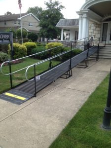 This wheelchair ramp was installed at a funeral services company in Williamstown, NJ by the Amramp Greater PA team.
