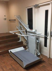 The Amramp Greater PA team installed this inclined platform lift at a commercial location in Wilmington, DE.
