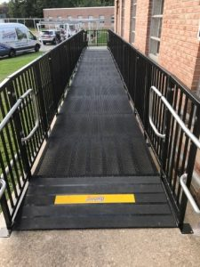 The Amramp Philadelphia team installed this code compliant Amramp Pro commercial ramp in Montgomery City, PA.