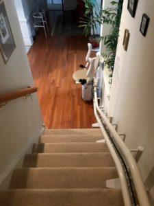 The Amramp Philadelphia team installed this curved stairlift in Newtown Square, PA.