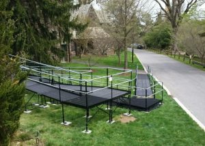 The Amramp Philadelphia team installed this long wheelchair ramp at Swarthmore College in PA.