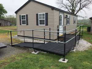 This wheelchair ramp was installed by the Amramp Philadelphia team at a tiny house in Red Lion, PA.