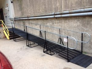 Nick Marcellino and the Amramp Philadelphia team installed this wheelchair ramp to provide an accessible alternative entrance for the American Red Cross building in Philadelphia, Pennsylvania.