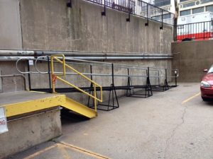 Nick Marcellino and the Amramp Philadelphia team installed this wheelchair ramp to provide an accessible alternative entry for the rear entrance for the American Red Cross building in Philadelphia, Pennsylvania.