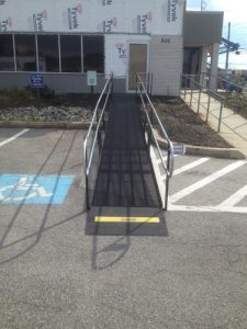 Amramp installed this wheelchair ramp to provide ADA compliant wheelchair access during construction by Nason Construction at Boeing in the Philadelphia, PA area.