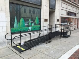 Amramp provided wheelchair accessibility with this commercial wheelchair ramp at the Abilities in Motion offices - a non-profit Center for Independent Living - at the Corbit Building in downtown Reading, PA.