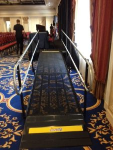 Nick Marcellino and the Amramp Philadelphia team were asked to provide a wheelchair ramp for the Philadelphia Courtyard Hotel in Center City Philadelphia for some of the speakers and Democrat delegates at the Democratic National Convention 