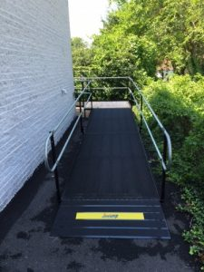 The Amramp Philadelphia team installed a wheelchair ramp for the First Baptist Church of Crestmont located in Willow Grove, Pennsylvania. The ramp was positioned in the back of the Church to provide easy access to their parking area for all parishioners.