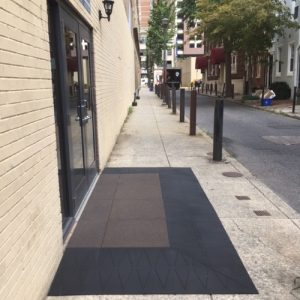 Nick Marcellino and the Amramp Philadelphia team made the street entrances ADA compliant and attractive for the InterAct Theater's new home at the historic Drake in Philadelphia, Pennsylvania with SafePath entry landing ramps.