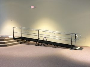 Nick Marcellino and the Amramp Philadelphia team installed this wheelchair ramp rental for a special event at the Crossway Church in Mohnton, PA.