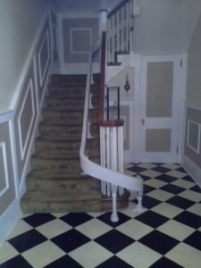 The Amramp Philadelphia team installed this curved stairlift in this Philadelphia home.