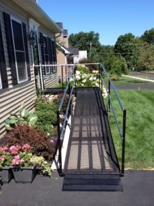 The front entrance of this Dublin, PA home is now wheelchair accessible thanks to the wheelchair ramp installed by Nick Marcellino and the Amramp Philadelphia.
