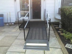 The Amramp Philadelphia team provided wheelchair access to the patio of this Broomall, PA home with this small wheelchair ramp.