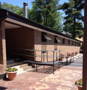 The manager of a condominium complex in Bala Cynwyd, PA contacted Nick Marcellino and the Amramp Philadelphia team to install this wheelchair ramp to provide access to the pool area for their residents during the summer months. Each spring Amramp installs the same ramp and then dissembles it and stores it for them during the winter months.