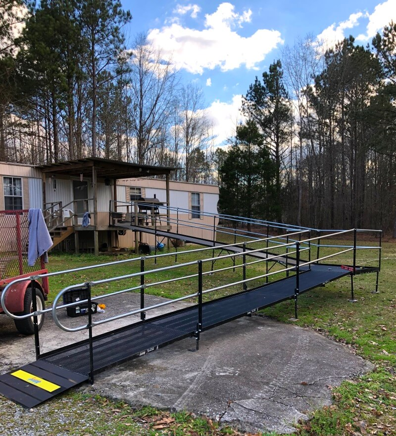 This wheelchair ramp is installed by the Amramp Birmingham team in Jemison, AL.