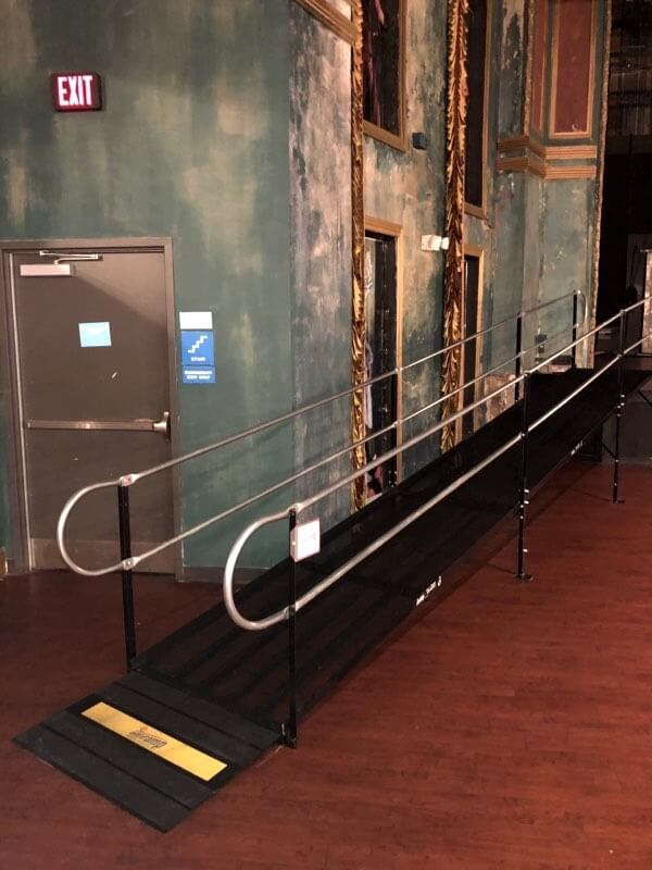 The Queen Theater in Wilmington, DE needed accessibility solutions for a one day event and Nick Marcellino and his Amramp Greater PA team installed this modular wheelchair ramp.