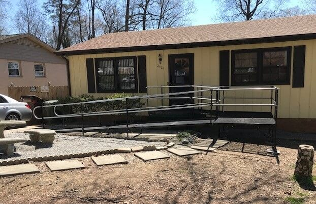Allen Cates and his team installed this 20 ft. ramp with three platforms at this Greensboro, NC home.