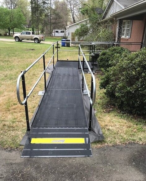 This 21 ft. ramp with two platforms was installed by Allen and the Amramp Charlotte team in Kernersville, NC for a spinal cord injury patient.