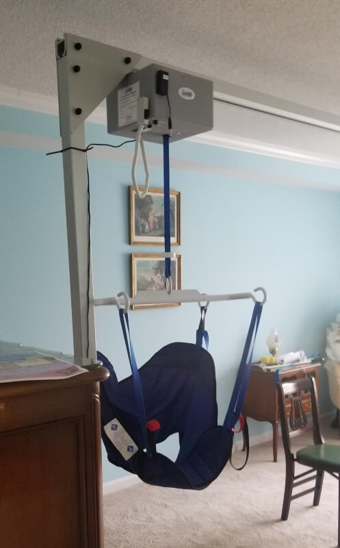 This Overhead Patient Lift was installed in Media, PA by the Amramp Philadelphia team, allowing the patient to come home with a caregiver.