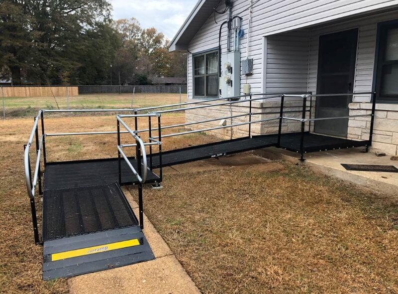 Amramp of Birmingham, Alabama installed this wheelchair ramp at a Hamilton home.